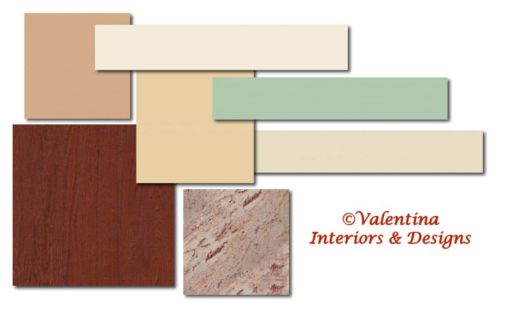 Color Palette and Material Kitchen and Living Room