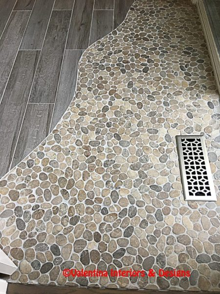 Marble Pebble and Wood Planks