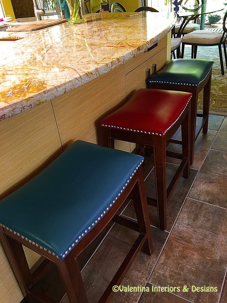 Colorful kitchen seats