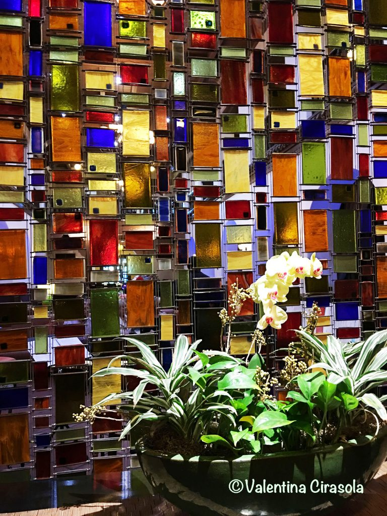 Wall of mosaic colored glass